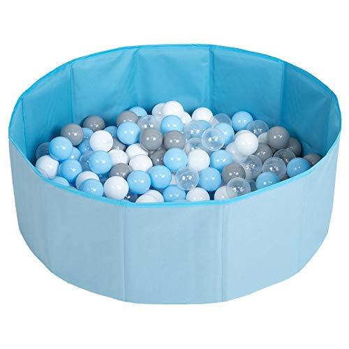 Selonis Piscina Plegable Con Bolas Coloridas De 100 Bolas NZ-78-BLUE, Azul:Gris/Blanco/Transparente/Azul Claro