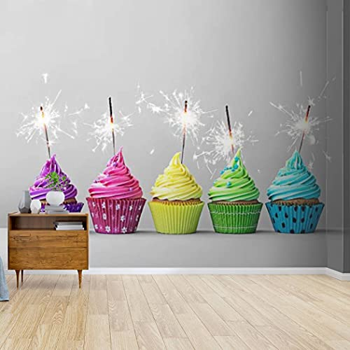 Kanworse Wallpaper Canvas Print Colorful Cupcakes with Sparklers Self Adhesive Peel & Stick Wallpaper Wall Mural Wall Decal Wall Sticker Poster Home Craft for Living Room