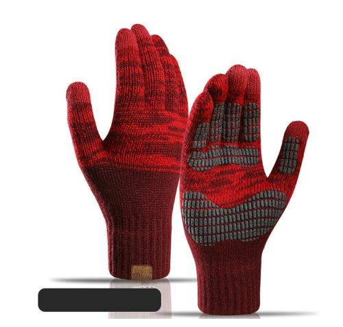 Guantes Gruesos cálidos de Invierno de Punto para Hombre, Guantes de esquí con Pantalla táctil, Rojo, Talla única