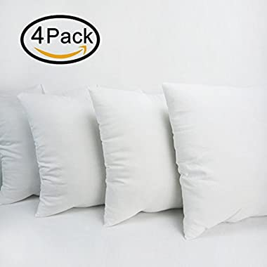 HIPPIH 4 Pack Pillow Insert - 18 x 18 Inch Hypoallergenic Decorative Square Sofa and Bed Pillow Form Inserts