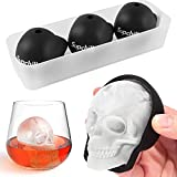Supchill Extra Large 3D Skull Ice Cube Mold Tray - Silicone Skull Ice Molds for Whiskey with Funnel - Sugar Skull Mold for Baking - Reusable and BPA Free (3 Pack + Tray)