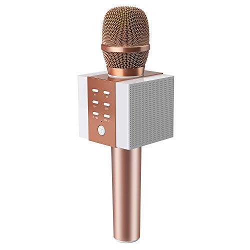 TOSING 008 microphone sans fil Bluetooth karaoké, plus fort volume 10W puissance, plus de basse, 3-en-1 portable poche double haut-parleur micro machine pour iPhone/Android/iPad/PC (rose)