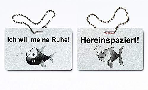 KaiserstuhlCard Türschild Ich Will Meine Ruhe Hereinspaziert Schild Anhänger Wendeschild Fisch Symbole (Silber metallic)