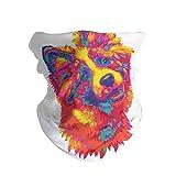 ANTOPM Rainbow Fluff Puff Unisex Seamless Rave Bandana Neck Gaiter Tube Mask Headwear