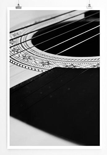 Eau Zone Home foto - Art foto's - snaren een westerngitaar zwart wit - fotodruk in haarscherpe kwaliteit LEINWANDBILD gespannt 90x60cm