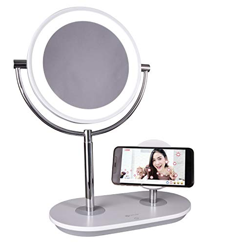 OttLite LED Makeup Mirror with Wireless Charging Stand