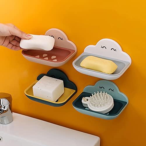 Pineocus Jabonera de 4 piezas, desmontable, fácil de limpiar, jabonera con dispositivo de drenaje, doble drenaje para baño, cocina y hotel
