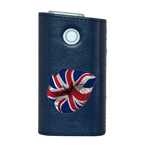 glo グロー グロウ 専用 レザーケース レザーカバー タバコ ケース カバー 合皮 ハードケース カバー 収納 デザイン 革 皮 BLUE ブルー 外国 国旗 パンク 009628