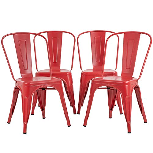 Metal Dining Chairs Set of 4 Indoor Outdoor Chairs Patio Chairs 18 Inch Seat Heigh Kitchen Chairs Tolix Side Bar Chairs Trattoria Metal Chairs Restaurant Chair 330LBS Weight Capacity Stackable Chair