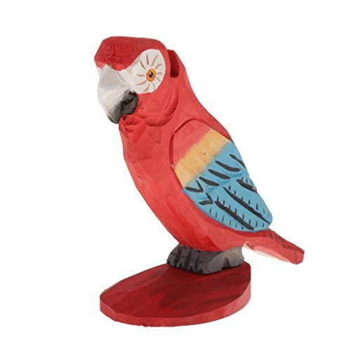 perfk Kreativer Brillenständer Holz Brillenhalter Multifunktionshalter für Sonnenbrillen, Lesebrillen, Halsketten, Uhren usw, Tierform - Papagei Rot