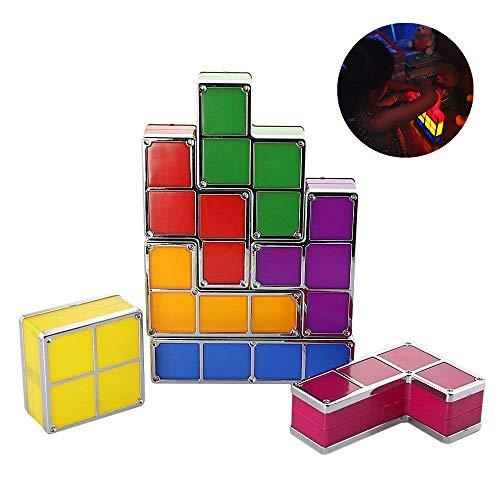 Preisvergleich Produktbild K.LSX Tetris Lampe Stapelbare Led 7 Stücke DIY Stapelbare Puzzles Led Nachtlicht 3D Spielzeug Schreibtischlampe Beleuchten Sie Ihr Zimmer