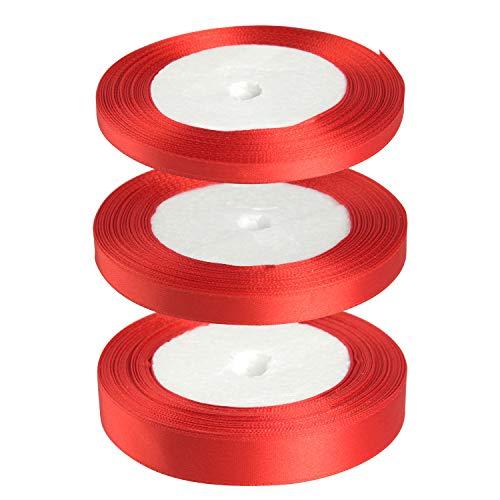 FEPITO 3 Rollen Satinband 6mm 10mm 15mm Geschenkband Rot Schleifenband Dekoband Hochzeit Bänder zum Basteln Weihnachtsdekoration Verpackung (Rot)