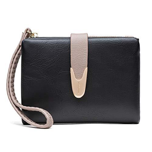 Kingus Women Leather Wallet Small Bifold Zipper Pocket Card Case Purse with ID Window,Black
