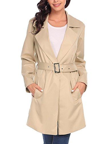 Zeela - Cappotto lungo da donna, con cintura, sottile, antivento arancione XXL