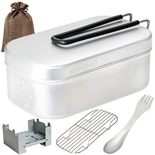 (キャンパー監修) メスティン キャンプ 2合炊き アウトドア 用品 ソロキャンプ 飯ごう 飯盒 はんごう 炊飯 蒸し ストーブ 三徳スプーン AWESOME'S