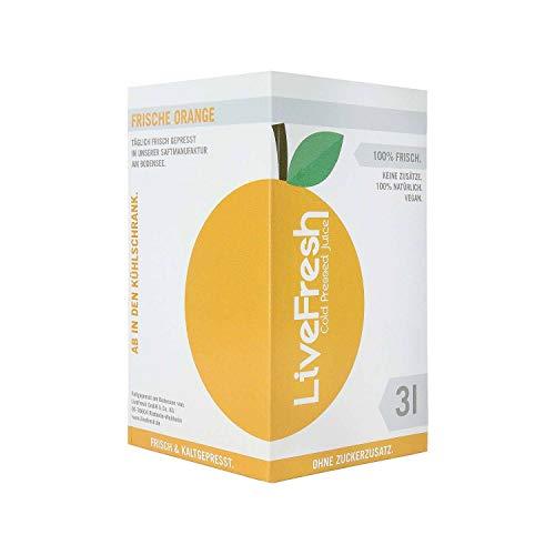 LiveFresh Frisch & Kaltgepresster Orangensaft 3 Liter Box | 100% aus frischen Orangen gepresst I Hergestellt in Deutschland I Keine Zusätze, kein Zuckerzusatz | Gekühlt und isoliert geliefert