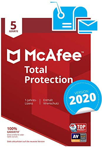 McAfee Total Protection 2020 | 5 Geräte | 1 Jahr | PC/Mac/Smartphone/Tablet | Aktivierungscode per Post