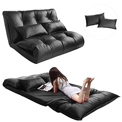 Adjustable Gaming Floor Sofa Bed, Folding PU Leather Couch with 2 Pillows, Mattress Futon Sleeper, Lazy Lounge, Reading, Meditating, Living Room, Bedroom, Balcony Furniture (Black)