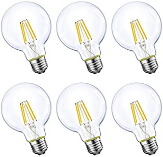 Dimmable LED Edison Light Bulb, G25 Globe Shape, Clear Glass, 60W Equivalent, 2700K Soft White, E26 Standard Base, UL Listed, 6-Pack