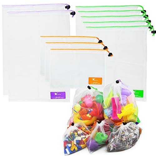 K Kichuzl 10-Piece Storage Toy Bag for Pop It Fidget Toys Packs - 2 Large, 5 Medium, 3 Small Drawstring Netted Sand, Pool and Bathtub Toy Bags - Portable, Heavy-Duty Bath Tub Baby Toy Organizer Holder Storage Bag Set
