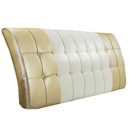 ZEMIN Sängkudde ryggstöd stöd mjukt fodral midja smidig fritid PU, med/utan sänggavel, 3 färger, 6 storlekar (färg: Guld med sänggavel, storlek: 200 cm)