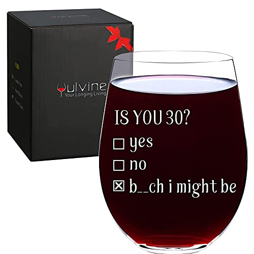 Funny 30th Birthday Gifts for Her Dirty 30 Bday Gift Ideas for Women Thirty Year Old Party Decorations Presents for Woman Wife Turning 30 Years Favors Idea Is You 30 Stemless Wine Glass 17oz