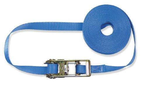Braun Spanngurt 1000 daN, einteilig, für Privattransporte, nach DIN EN 12195-2, Farbe blau, 5 M Länge, 25 mm Bandbreite, mit Ratsche
