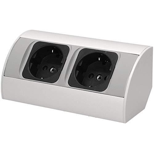Orno AE-1303/G(GS) Ecksteckdose 2 Fach, Ideal für Küche, Büro und Arbeitsplatte || 45° Aufbau-Montage || 3680W