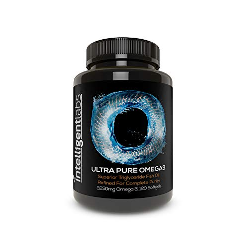 Intelligent Labs Triglyceride Omega 3, 2250mg per 3-Capsule Serving, Burpless Fish Oil Capsules, GOED Certified, 3rd Party Heavy Metal, PCB, and Oxidation Tested – 120 Softgels Per Bottle!