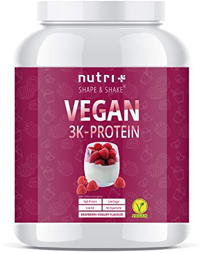 HOGE PROTEIN Veganistische Frambozen Yoghurt 1000g - 79,1% eiwit - 3k eiwitpoeder - lactosevrij eiwitpoeder Laag Suikergehalte - Nutri-Plus 1kg Vegan Protein Eiwitschudding