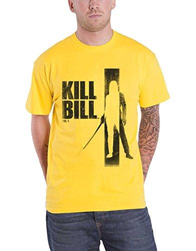 Kill Bill T Shirt Silhouette Movie Affiche Logo Nouveau Officiel Homme Jaune Size XL