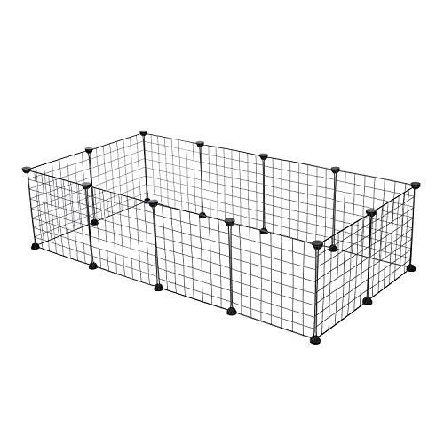 HGAUGE Mascotas parque de juegos para hacer ejercicio de plástico, caja modular para mascotas, jaula de perrera para cobayas, conejo, hámster parque de juegos 12 paneles, 35 cm x 45 cm