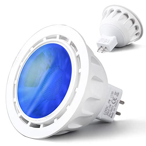 REYLAX® 8pcs Foco LED GU5.3 6W, Luz Azul, Bombilla de Regulable 12V MR16 Bombillas de Colores 500lm, ángulo de Haz de 60°