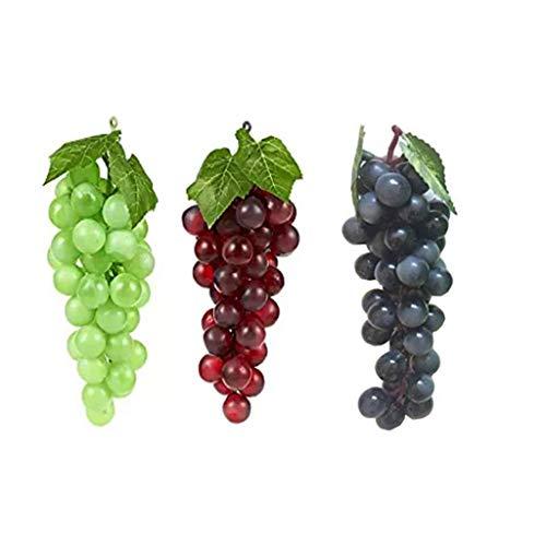 TEYOMI 3grappoli UVA Artificiale di Simulazione di Frutta noccioli di plastica Falso realistica per Armadio da Cucina casa Pub Decorazione Ornamento 3Colori (36) One Size A