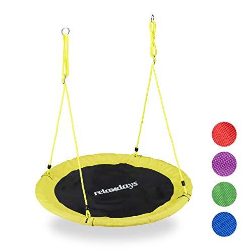 Relaxdays Nestschommel voor volwassenen, uniseks, outdoor schommel voor kinderen en volwassenen, diameter 110 cm, tot 100 kg, rond, bordenschommel, geel, h x d: ca. 5 x 110 cm.