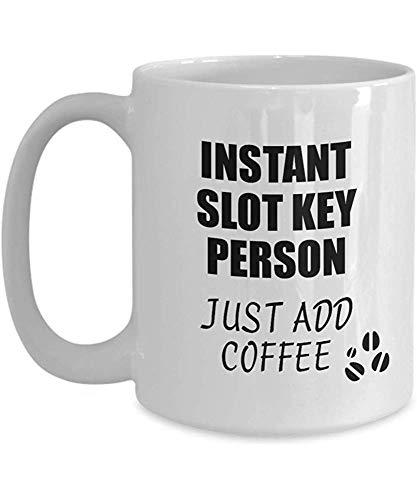 Slot Key Person Mug Instantáneo Solo agrega café Idea de regalo divertida...