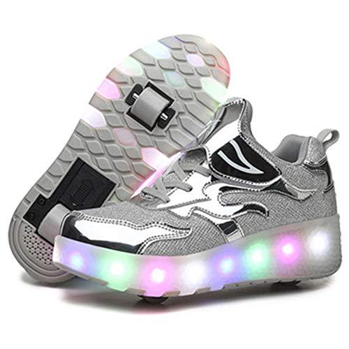 Zapatillas con Ruedas LED Luz Automática De Skate Zapatillas Automática Calzado De Skateboarding USB Carga De Zapatillas Recargable para Niños Niñas,Plata,37