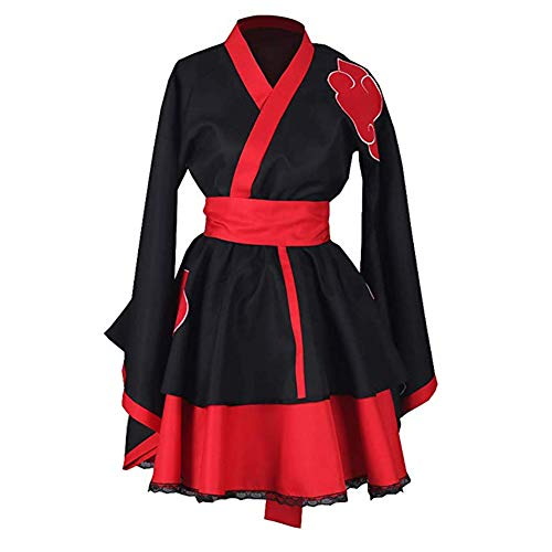 Classical City Naruto Shippuden Akatsuki Organization Female Lolita Kimono Dress Anime Cosplay Costume 3 Pcs (S) Black