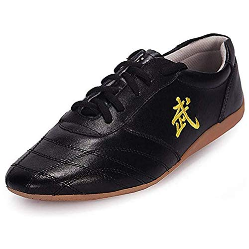 LMMZ Kampfsport Schuhe, Tai Chi Kung Fu Trainer Unisex Canvas Track Shoes Non-Slip atmungsaktiv,Schwarz,44