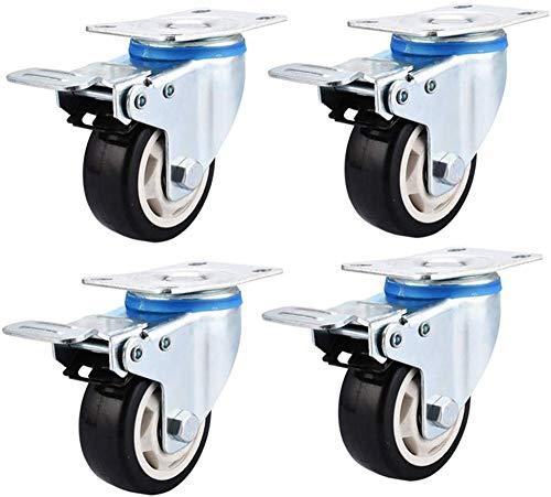 HUIYUAN Casters Industrietransportrollen Heavy Duty Festplatten Räder Universalschwenkbremse 4 Stück Pu 3 Inches 75 Mm 75kg (Color : 4 Universal Brakes, Size : 5inches)