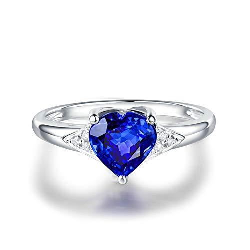 Beydodo Anillo Compromiso Mujer,Anillos Mujer Oro Blanco 18 Kilates Plata Azul Corazón Tanzanita Azul 1.12ct Diamante 0.04ct Talla 17(Circuferencia 57MM)