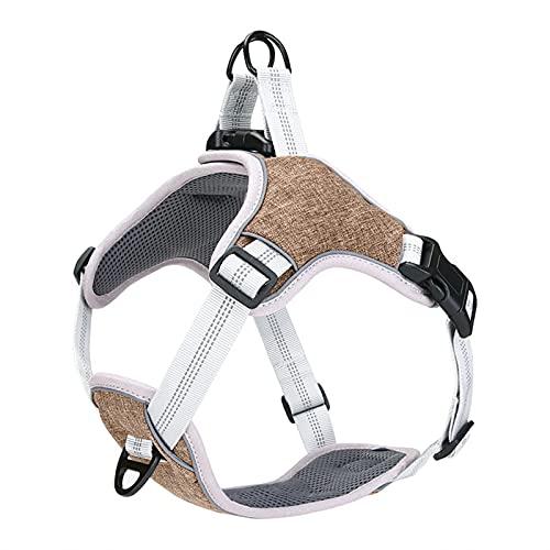 Arnés para perros PET reflectante Nylon Dog Harness No Tire Ajustable Medio Amplio Naughty Naughty Chaleco Seguridad Camino vehicular Caminando corriendo ( Color : Coffee , Size : XL 28-34.5 inch )