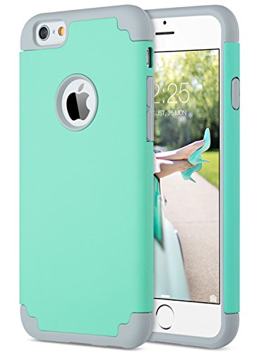 ULAK iPhone 6S Case Mint Green, iPhone 6 Case, Slim Dual Layer Soft Silicone & Hard Back Cover Bumper Protective Shock-Absorption & Skid-Proof Anti-Scratch Hybrid Case (Turquoise + Grey)