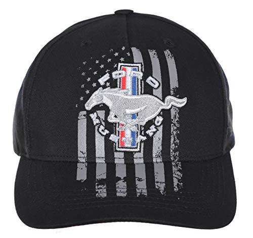 Herren Ford Mustang Kappe mit Karomuster, amerikanische Flagge, verstellbar, Schwarz