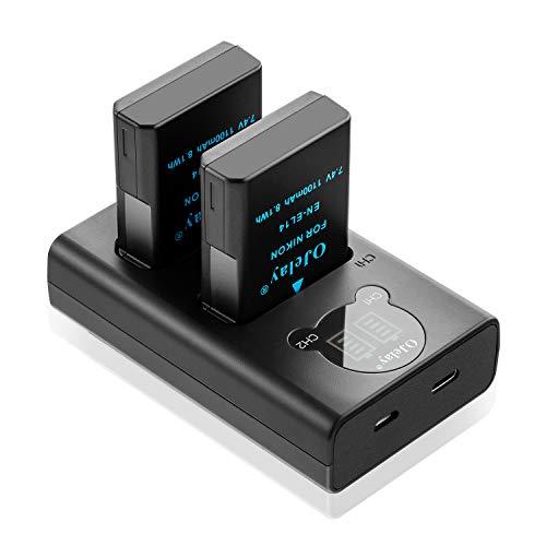 OJelay EN-EL14 1100mAh Ersatzakku 2 Stück für Nikon EN-EL14 Kamera Akku und LCD Smart Dual Ladegerät für Nikon D3100,D3200,D3300,D3400,D3500,D5100,D5200,D5300,D5500,D5600,P7000,P7100,P7700,P7800,DF