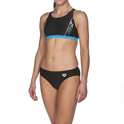 ARENA Damen Sport Bikini Skid, Black-Turquoise-White, 36