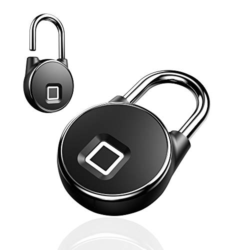 Safe2Home® stabiles Fingerabdruck Vorhängeschloss Sicherheitsschloss - schlüsselloses Schloss Türschloss Haustür, Rucksack, Koffer, Fahrrad - USB aufladbar - IP66 für außen/aussen