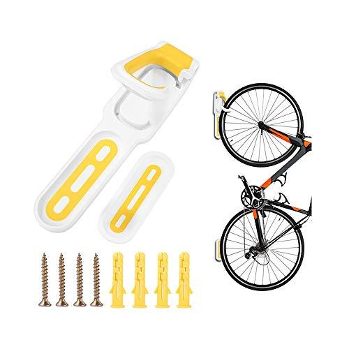 FJSC Soporte De Almacenamiento Horizontal para Bicicletas En La Pared para Bicicletas En El Garaje O En El Hogar, Soporte Seguro Y Seguro para Colgar En Bicicleta, Gancho para Bicicletas Amarillo
