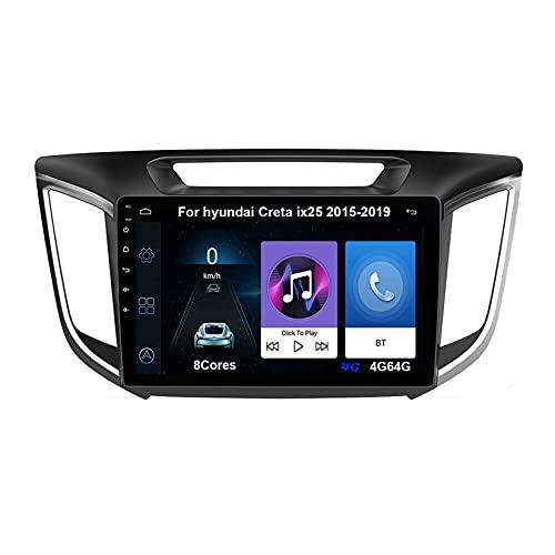 Android 10 Autoradio 9 Pulgadas Coche Radio De Coche Pantalla Tactil Para hyundai Creta ix25 2015-2019 Radio Del Coche Car Player Conecta Y Reproduce Coche Audio USB Cámara Trasera