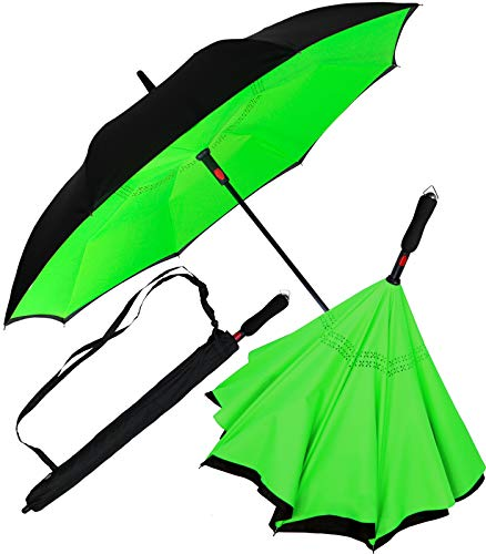 iX-brella Reverse-Regenschirm Automatik- umgedreht zu öffnen - schwarz-neon grün